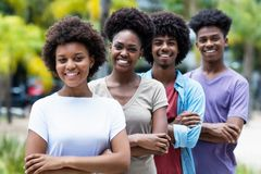 Group of african american young women and men in line stock photos