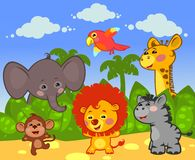 Group of African animals. In the nature Royalty Free Stock Image