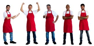 Group of 5 african and caucasian and latin american waiters. On an isolated white background for cut out royalty free stock image