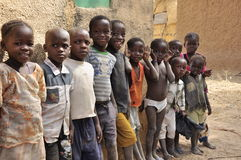 Group of african children at school. Group of  very cute black children, refugees, West Africa Stock Photography