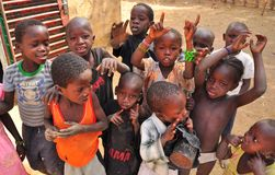 Group of african children singing. Group of  african  children singing in a village of Niger, West Africa Royalty Free Stock Photos