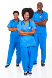 African hospital workers. Group of african hospital workers portrait on white stock photo
