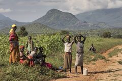 A group of African peasant women stops to rest by the road. Northern Uganda