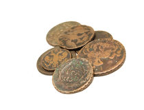 Group of age-old coins Royalty Free Stock Photography