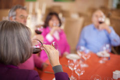 Group of aged friends drinking red wine Stock Photography