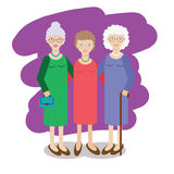 Group of aged ladies. Three old women, elderly grandmother vector illustration Royalty Free Stock Image