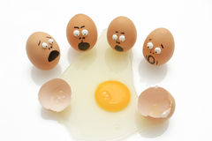 Group of agg surprise. Group of eggs was surprised when his breaking Royalty Free Stock Photos