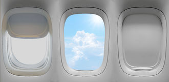 Group of the airplane windows Stock Photography
