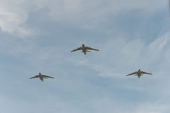 Group of airplanes il-76. Group of Russian airplanes il-76 royalty free stock photos
