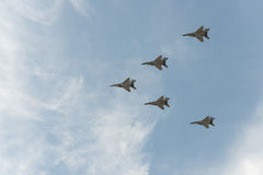 Group of airplanes. MIG-29 stock images