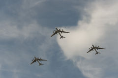 Group of airplanes. Group of Russian airplanes Tu-95 stock image