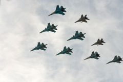 Group of airplanes. Sukhoi Su-34 stock images