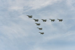 Group of airplanes. Sukhoi Su-30 stock photo