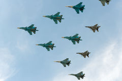 Group of airplanes. Sukhoi Su-34 royalty free stock images