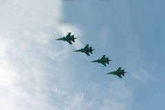 Group of airplanes Sukhoi. Su-33 royalty free stock image
