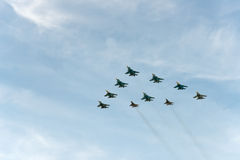 Group of airplanes Sukhoi. Su-34 stock photo