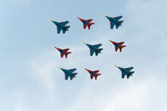 Group of airplanes. Sukhoi Su-27 and MIG-29 stock photo