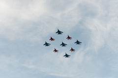 Group of airplanes Sukhoi. Su-27 and MIG-29 stock image