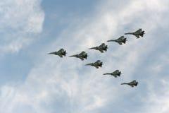 Group of airplanes Sukhoi. Su-30SM stock photos