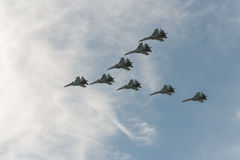 Group of airplanes Sukhoi Stock Image