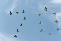 Group of airplanes. Sukhoi Su-25SM and MIG-29 stock photos