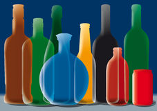 Group of Alcohol Bottles. Illustration. (Color silhouette Royalty Free Stock Photography