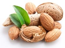 Group of almond nuts. Royalty Free Stock Image