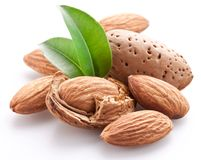 Group of almond nuts. Royalty Free Stock Photos