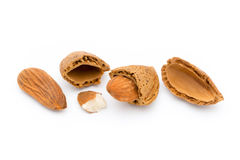 Group of almond nuts. Isolated on a white background. Stock Photo