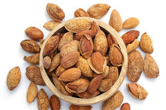 Group of almond nuts isolated Stock Image
