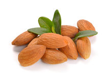 Group of almond nuts with leaves Royalty Free Stock Photos