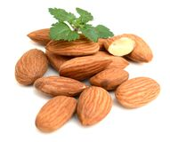 Group of almond nuts. Group of almond nuts with leaves isolated on white background Royalty Free Stock Image