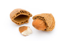 Group of almond nuts.  on a white background. Royalty Free Stock Images