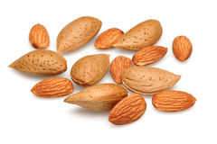 Group of almonds. On white background Stock Images