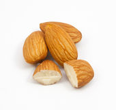 Group of almonds isolated. On white stock photos