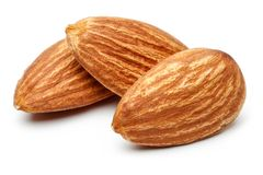 Group of almonds isolated on white. Background royalty free stock image