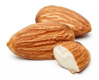 Group of almonds isolated on white. Background stock photography
