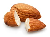 Group of almonds isolated on white. Background stock images