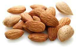 Group of almonds isolated on white. Background royalty free stock photo
