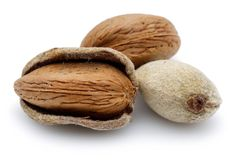 Group of almonds isolated on white. Background royalty free stock photography