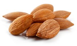 Group of almonds isolated on white. Background royalty free stock photos