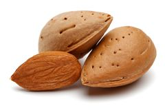 Group of almonds isolated on white. Background stock image