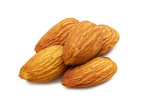 Group of almonds isolated on white background Stock Images