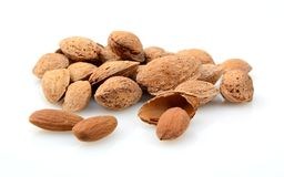 Group of almonds with shell isolated on white Royalty Free Stock Image