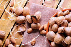 Group of almonds on a table in the field top view Royalty Free Stock Photos