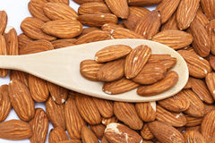 A group of almonds. With a wooden spoon Stock Photography