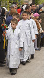 Group of altar boys. Group of children at a specific Christian Orthodox ceremony.Floriilor Sunday,20.04.2008,Bacau,Romania Royalty Free Stock Image
