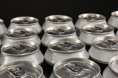 Group of aluminum beverage cans Royalty Free Stock Image