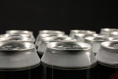 Group of aluminum beverage cans Royalty Free Stock Images