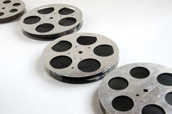 Group of aluminum film reels. On a white background royalty free stock image